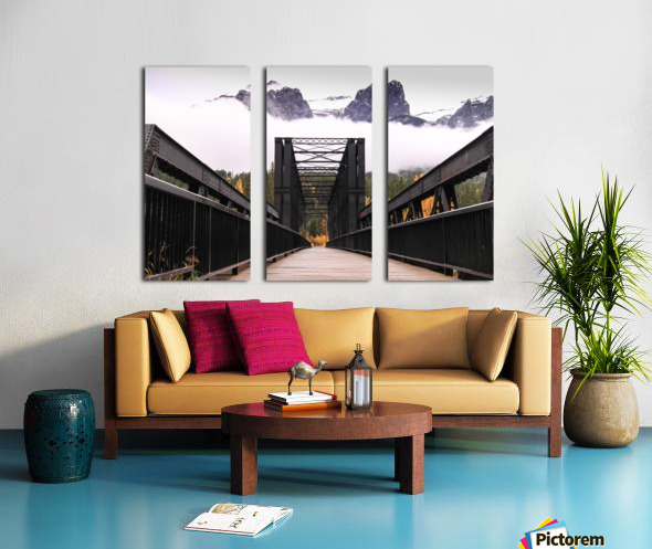 The Engine Bridge Canmore in Fall Split Canvas print
