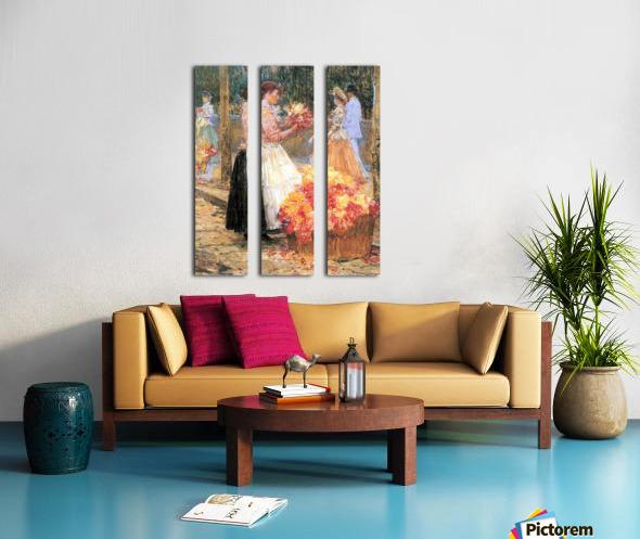 Woman sells flowers by Hassam Split Canvas print