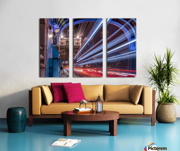 Light trails along Tower Bridge London Split Canvas print