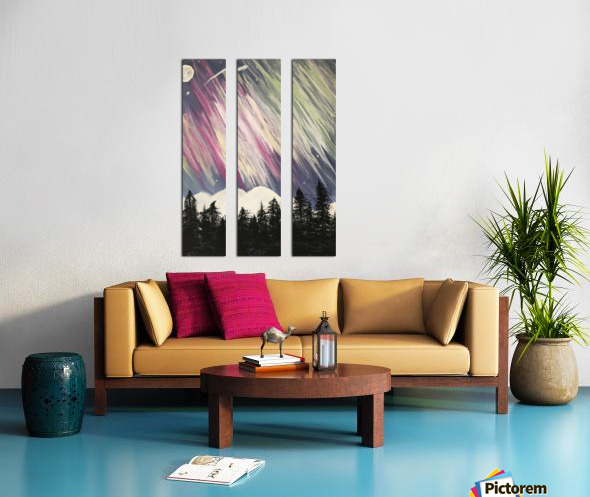 Aurora Borealis Above The Forest Split Canvas print