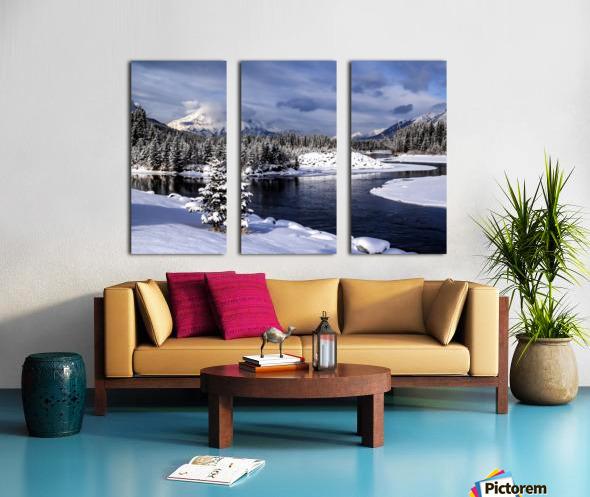 Snowy Bow River Canmore Alberta Split Canvas print
