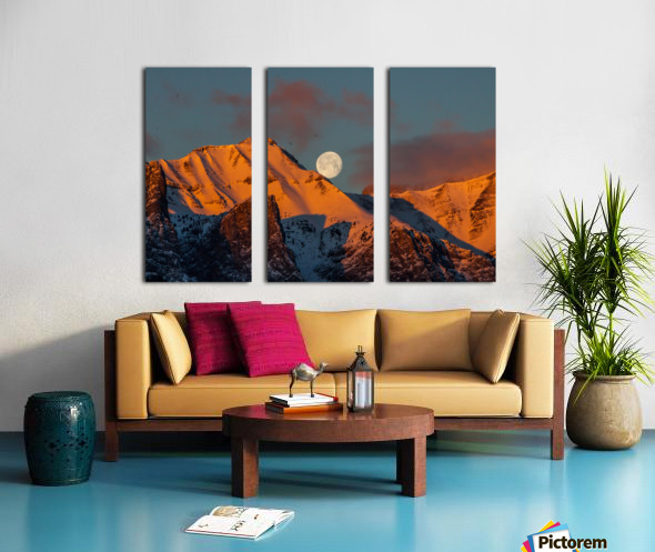 Super Moon Setting Behind Rundle Mountain Split Canvas print