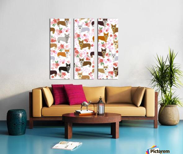 Corgis corgi pattern Split Canvas print