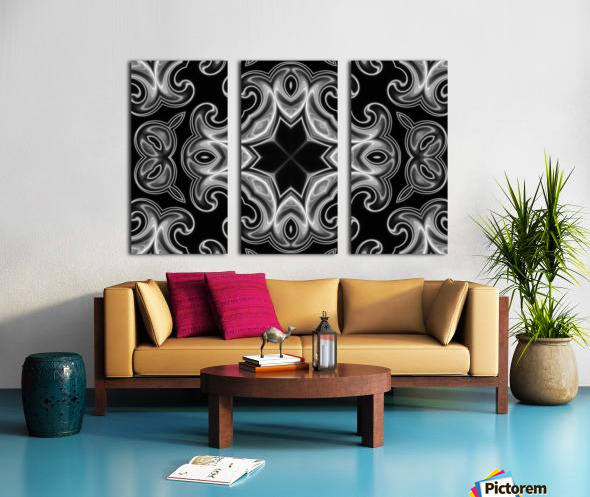 Classic Fractal in black and white Split Canvas print