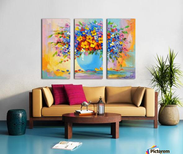A bouquet of bright flowers Split Canvas print