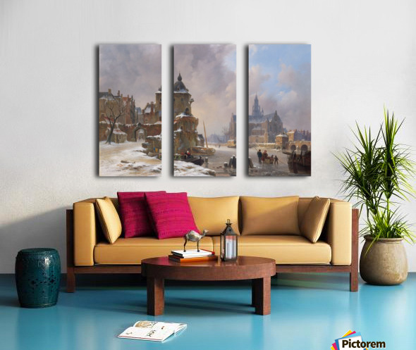 Winter cityscape with frozen river Split Canvas print