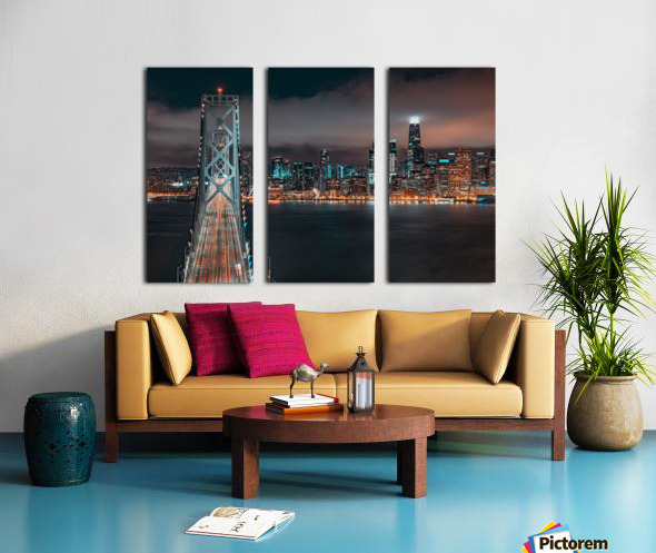 San Francisco Skyline at Night With The Bay Bridge Split Canvas print