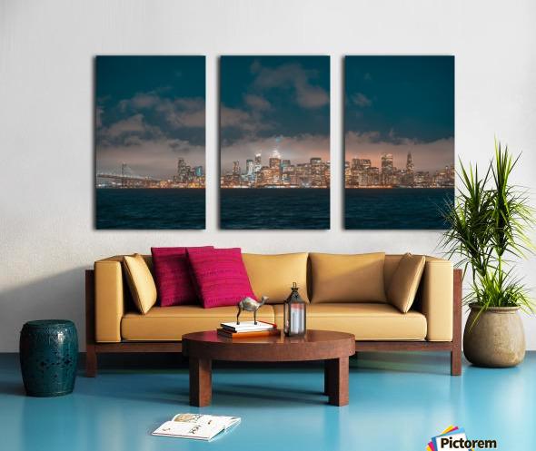 Cloudy San Francisco Night Skyline Split Canvas print