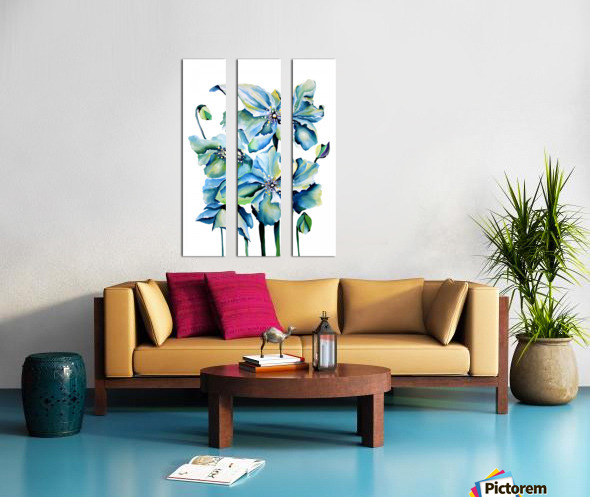 Blue Poppies Watercolor Split Canvas print