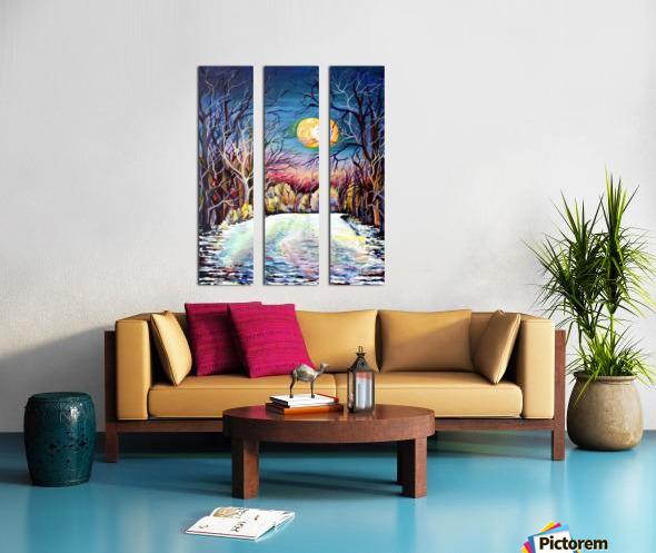 Winter Full Moon Night Landscape Watercolor Split Canvas print