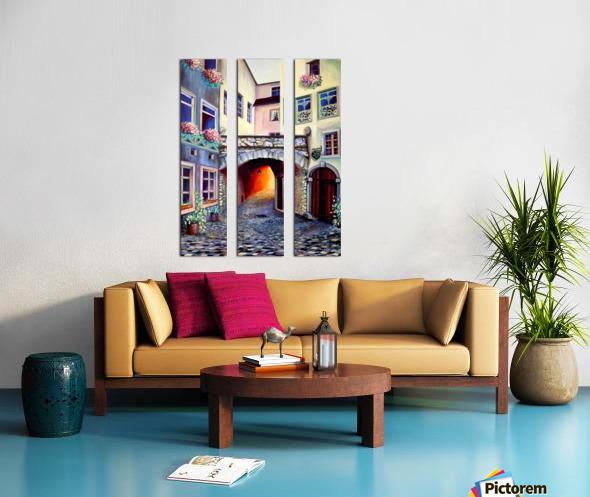 Brussels Cityscape Bohemian Painting Split Canvas print