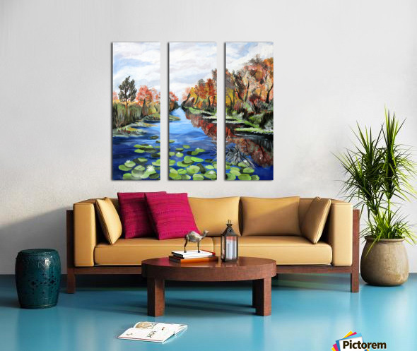 Danube River Watercolor Seascape Split Canvas print