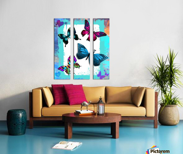 Whimsical Morpho Butterflies in Vivid Colors Split Canvas print