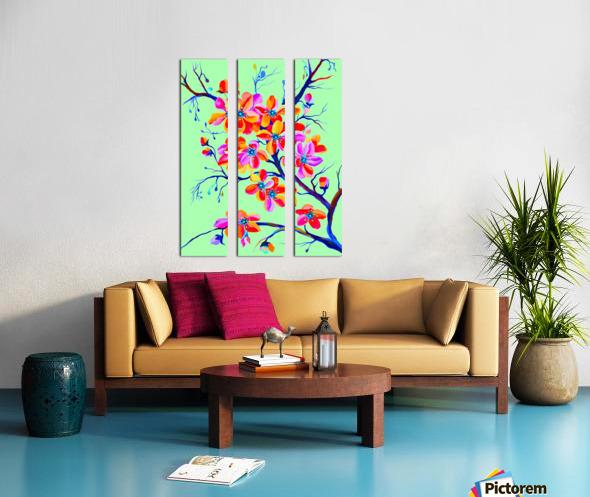 Watercolor Sakura Japanesse Cherry Flowers Split Canvas print