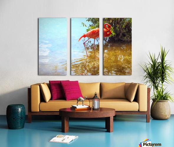 Pink Flamingo Wading In Water Split Canvas print