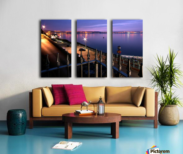 Swansea Bay at night Split Canvas print