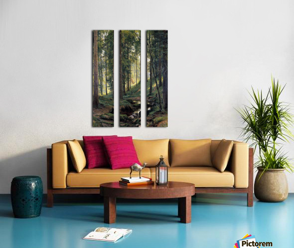 Stream by a forest slope Split Canvas print