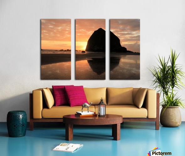 Haystack Rock at Sunset Split Canvas print