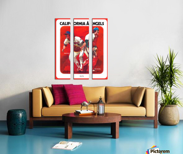 retro california angels poster baseball art row one (1) Split Canvas print
