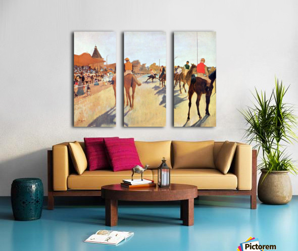 Jockeys in front of the grandstand by Degas Split Canvas print