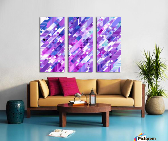 geometric square pixel pattern abstract background in purple pink Split Canvas print