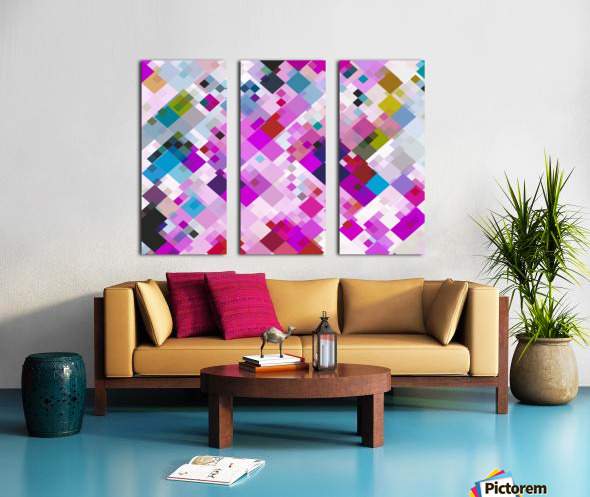 geometric square pixel pattern abstract background in pink blue yellow Split Canvas print