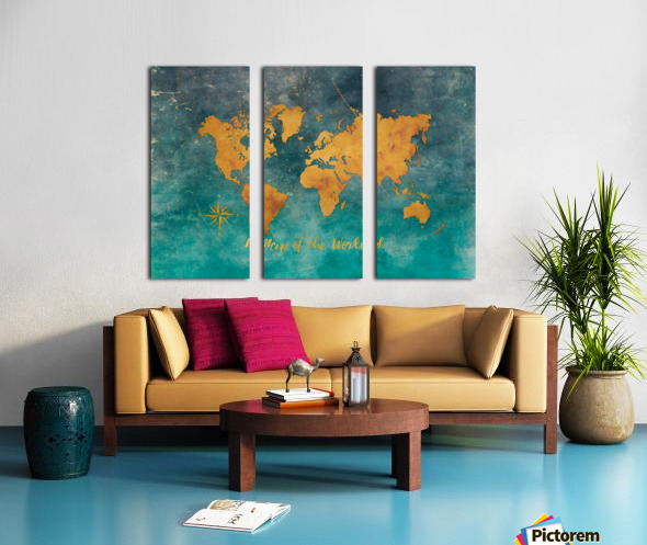 World Map 3 Split Canvas print