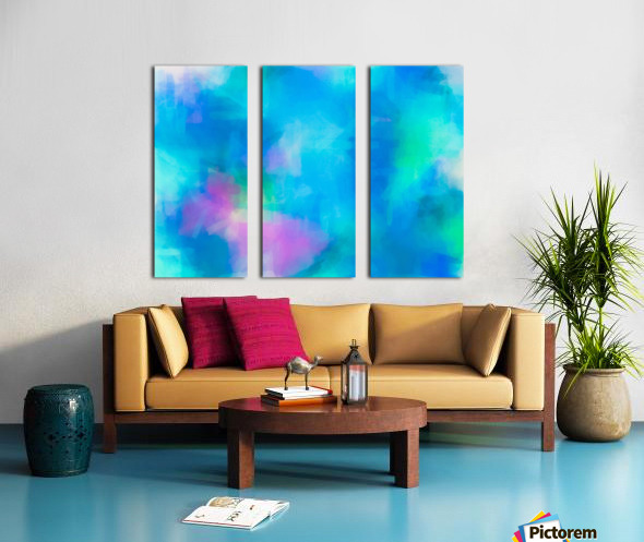 splash painting texture abstract background in blue and pink Split Canvas print