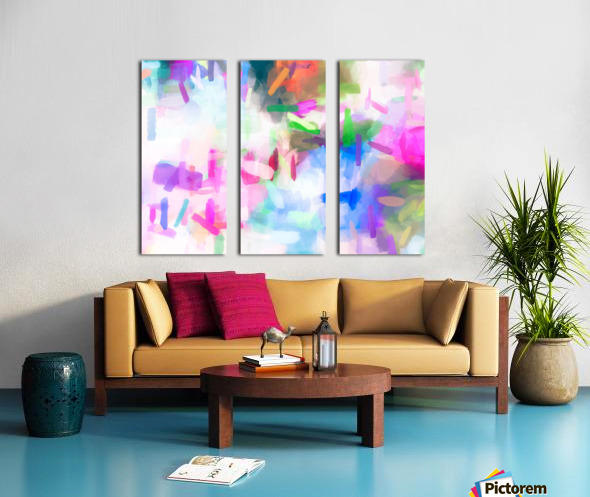 splash painting texture abstract background in pink blue green Split Canvas print