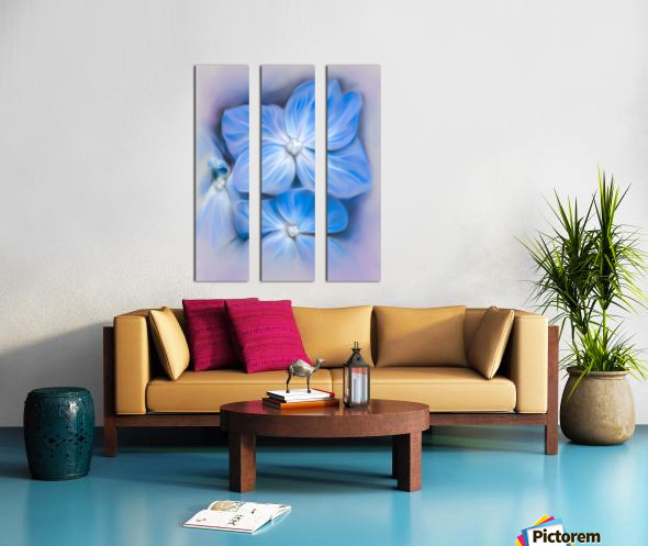 Blue Hydrangea Blossoms Split Canvas print