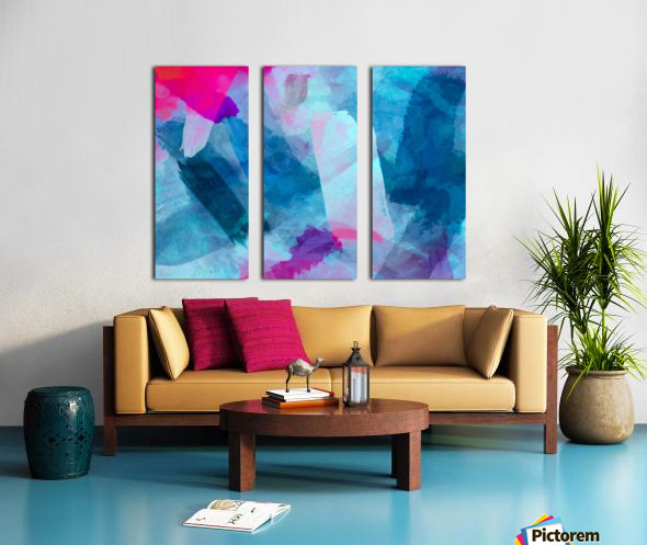 splash painting texture abstract background in blue pink Split Canvas print