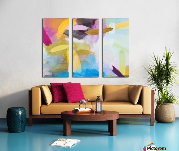 splash painting texture abstract background in yellow blue pink Split Canvas print