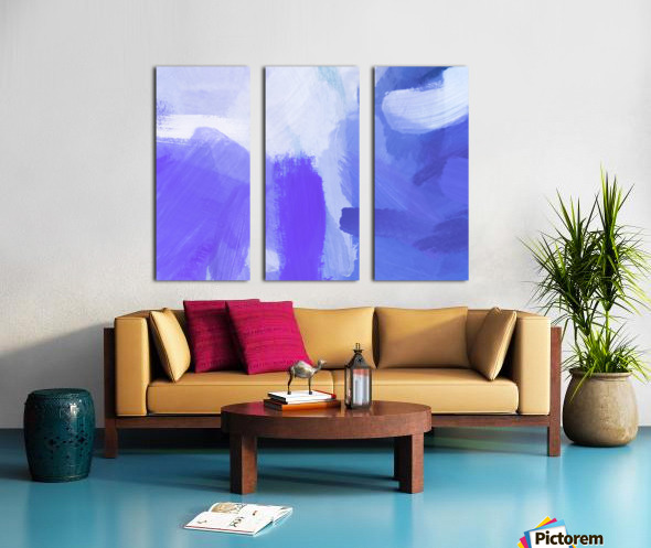 splash painting texture abstract background in blue and purple Split Canvas print