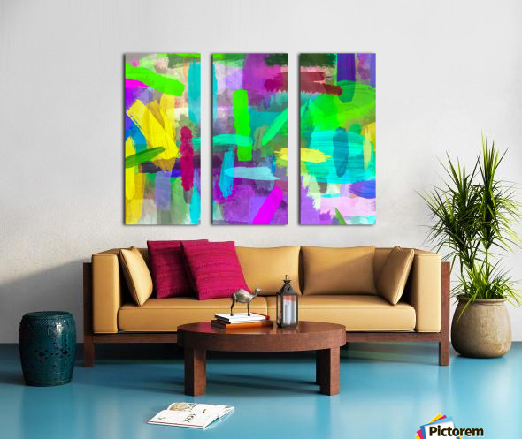splash brush painting texture abstract background in green blue pink purple Split Canvas print