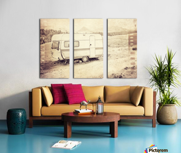 vintage travel trailer Split Canvas print