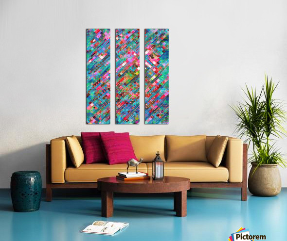 geometric square pixel pattern abstract background in blue pink Split Canvas print