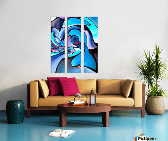 Twisted Splash of Blue Shapes  Split Canvas print