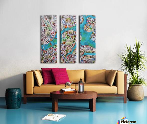 imaginary map of Boston Split Canvas print