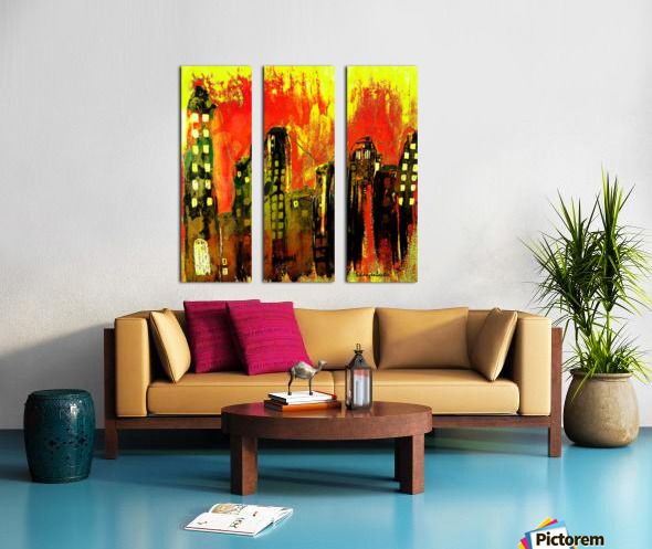 City on fire Split Canvas print