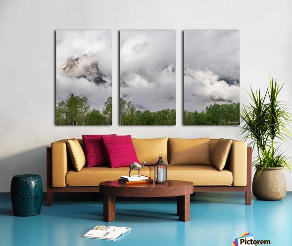 Billowy Clouds Surround Rundle Mountain Split Canvas print