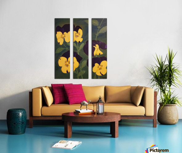 Yellow and purple pansies Split Canvas print