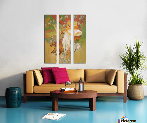 Mucha Spring Split Canvas print