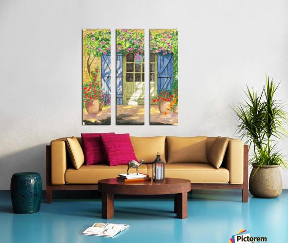 Rose cottage Split Canvas print