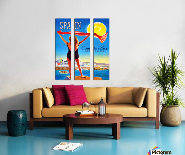Girl on Malaga Beach Split Canvas print