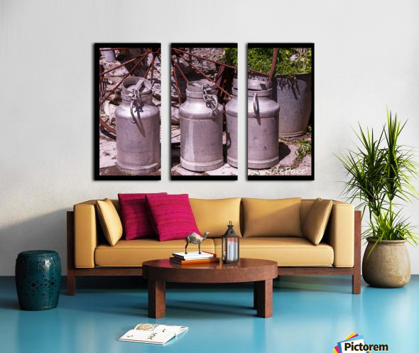 rustic milk cans Split Canvas print