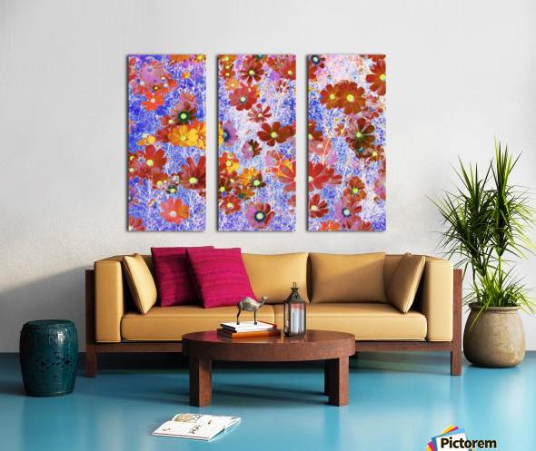 Cosmos Flowers Brown Split Canvas print