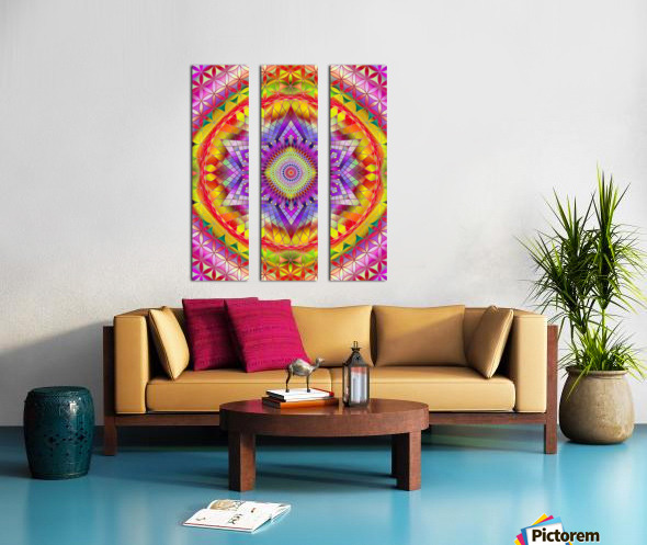 Vintage Mandala Orange Snowflake Split Canvas print