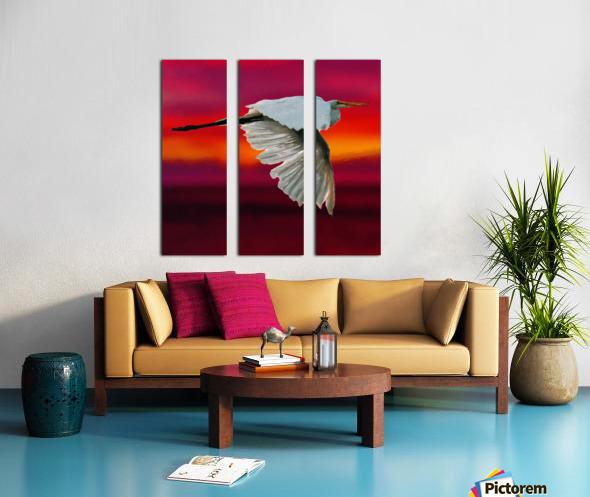 Egret in sunset Split Canvas print