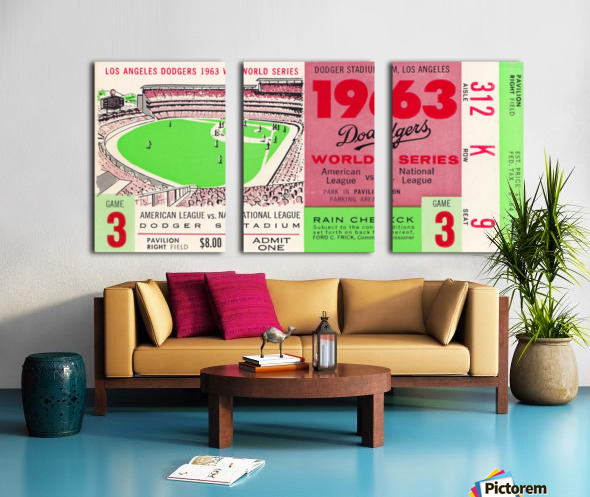 1963 world series ticket stub art la dodgers home decor Split Canvas print
