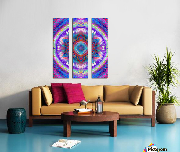 Purple Snowflake Mandala Split Canvas print